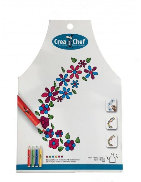 Tablier à colorier Créa chef Fleurs