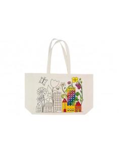 """Méga sac imprimé en coton """"ville en fleurs"""" à colorier"""
