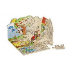 Puzzle 3D ferme en bois à colorier