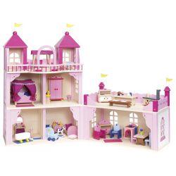 Chateau royal pour poupées meublé, personnages inclus
