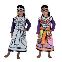 Déguisement Danseuse orientale à colorier