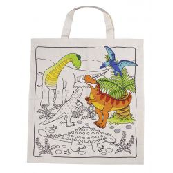 Sac imprimé en coton dinosaures à colorier